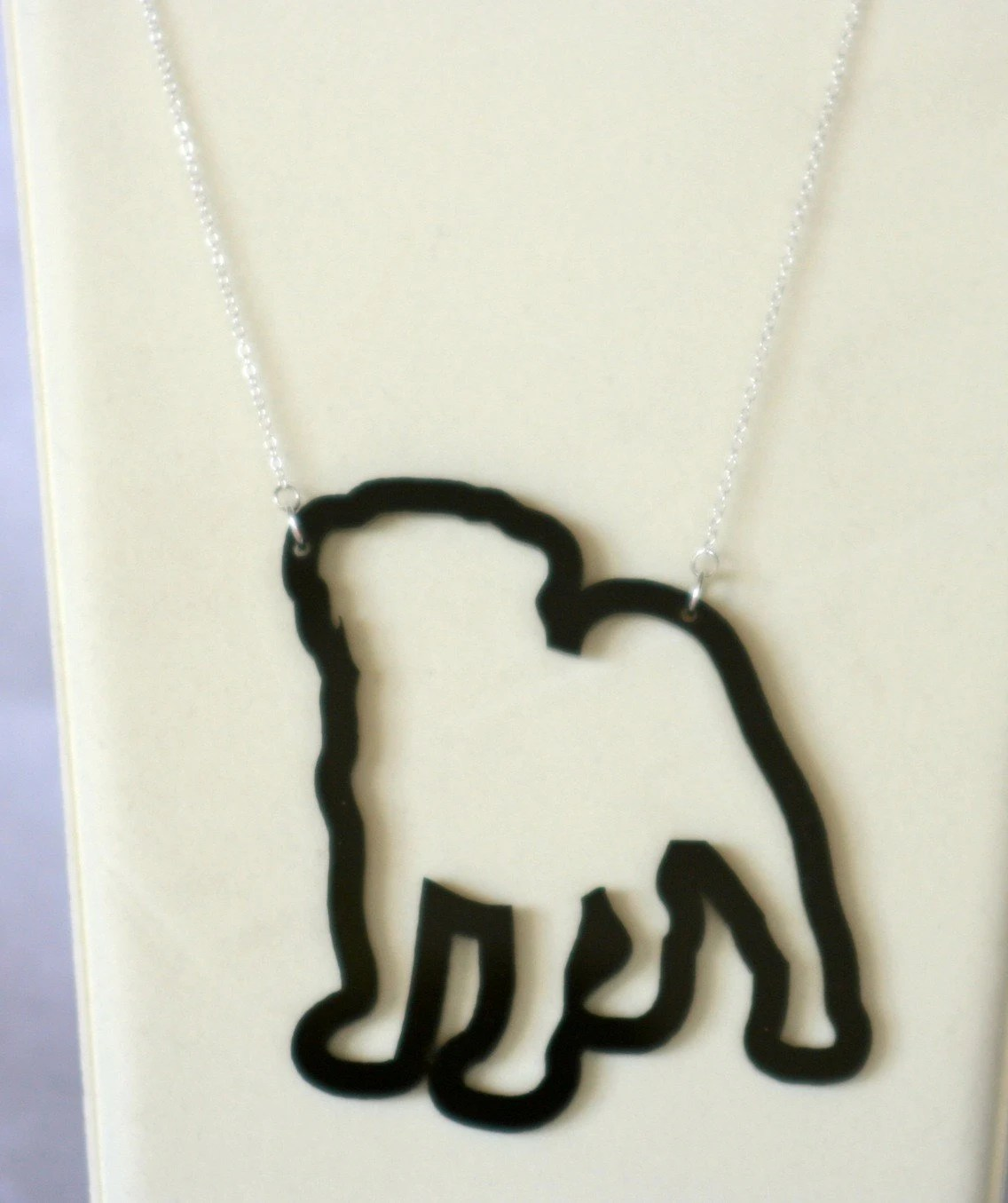 Pugalicious Necklace (black acrylic)