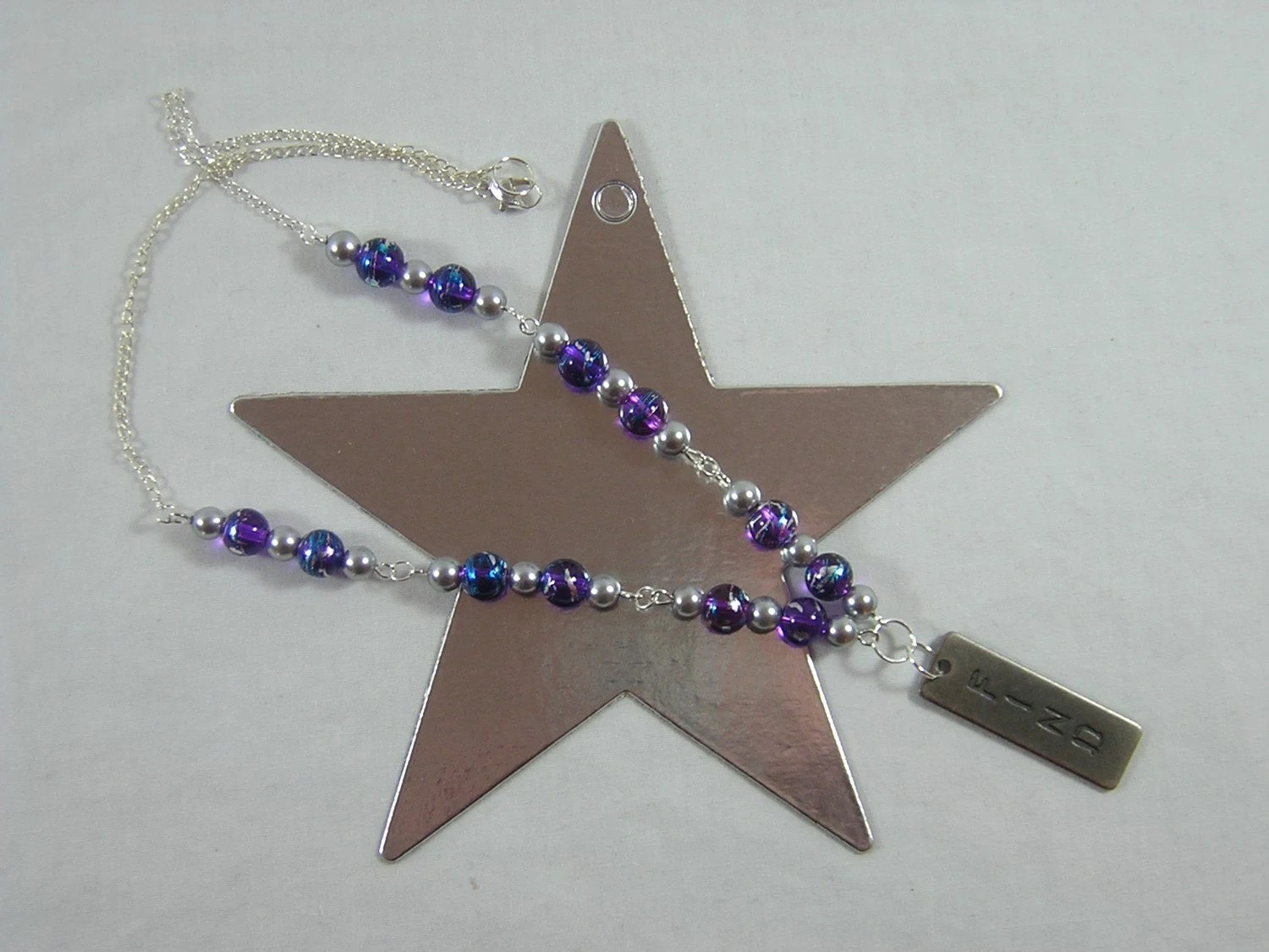 Purple and Silver FIND Necklace - Handmade by Rewondered D225N-99244 - $23.95