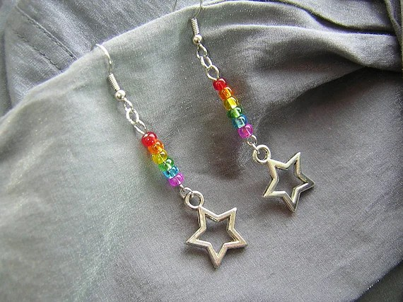 Rainbow Star Dangle Handmade Beaded Earrings by Rewondered