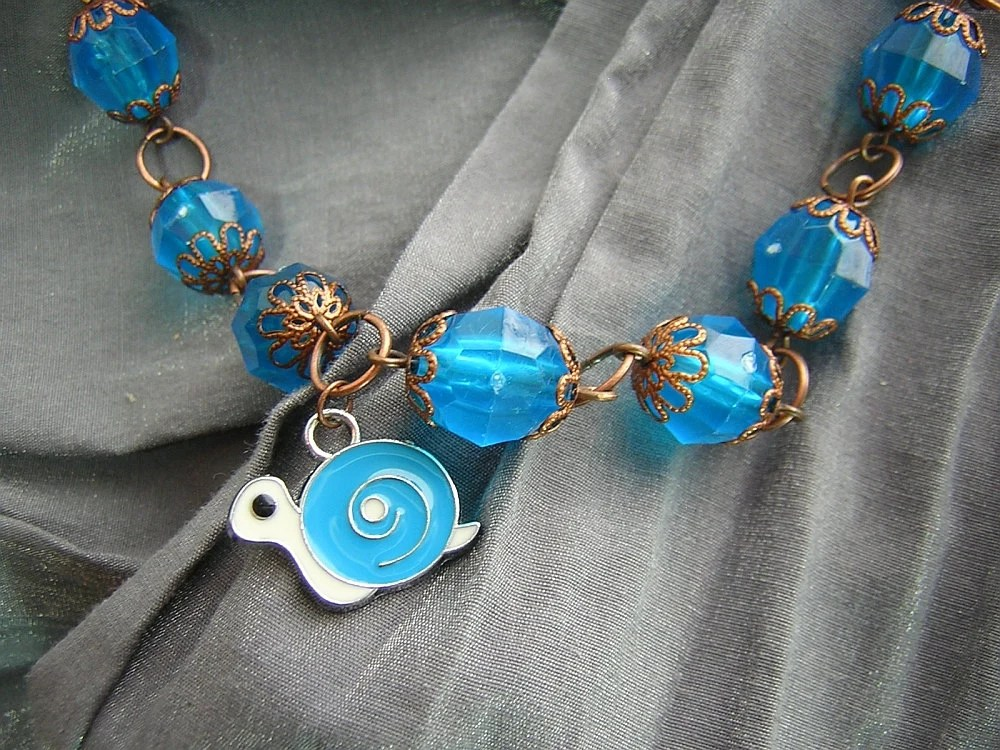 Turquoise Blue and Copper Large Bead Necklace with Turquoise Blue and White Snail Charm - Handmade by Rewondered D225N-00366 - $24.95