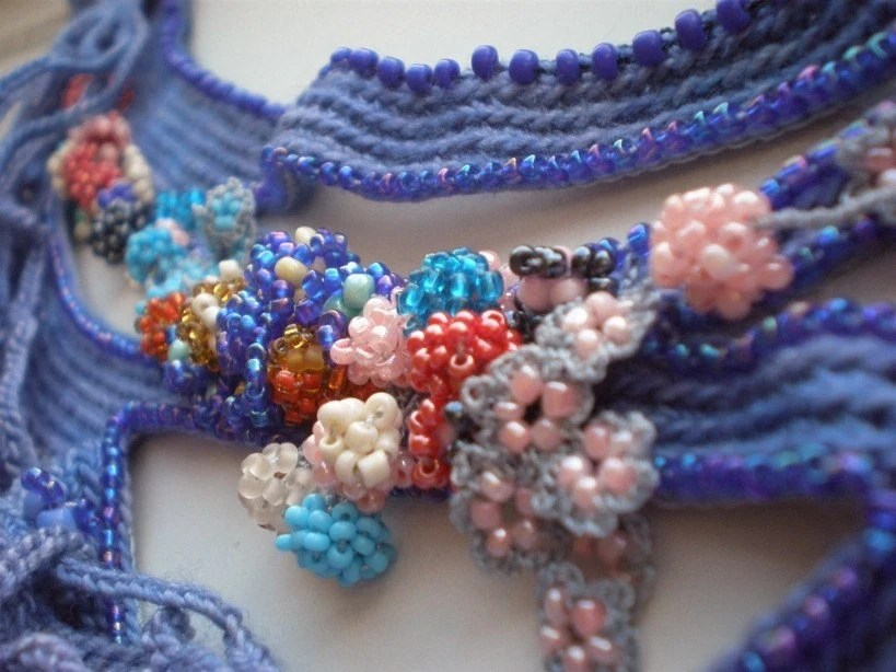 Locus Amoenus ... Freeform Beaded Crochet Necklace - Flowers