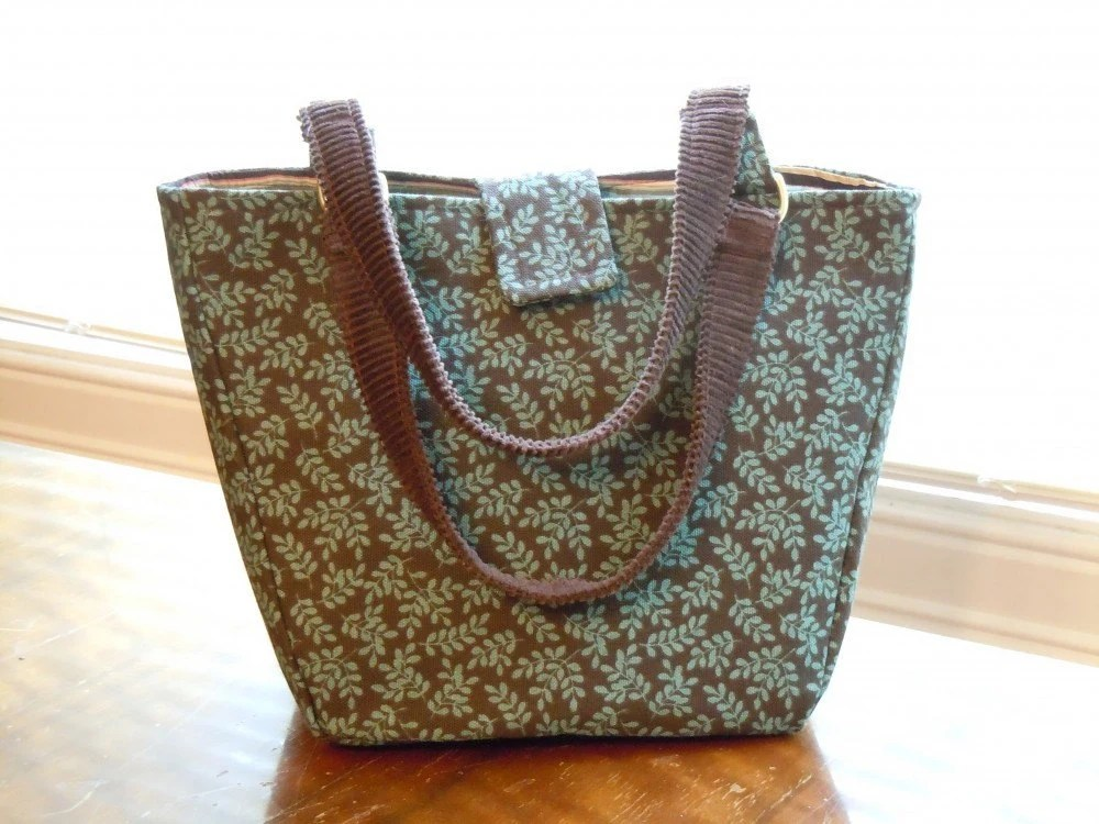 Handmade bag in Chocolate with Teal flowers