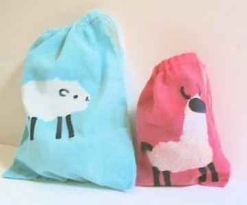 PINK batik LLAMA micro-mini project or notion drawstring bag NO TEXT
