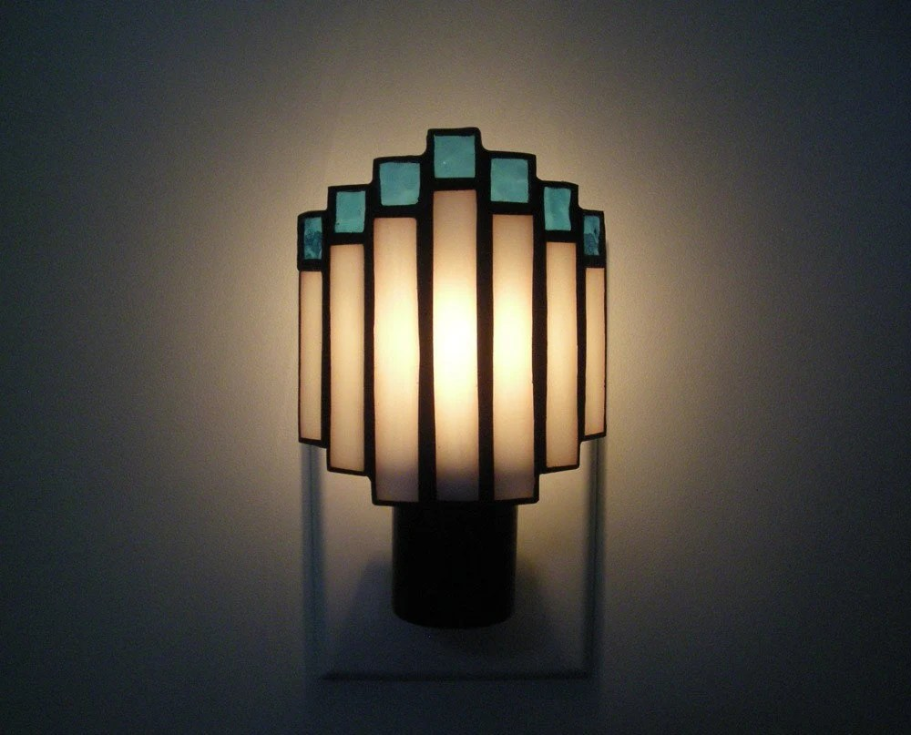 Arched Art Deco Night Light in White and Aqua Blue Stained Glass