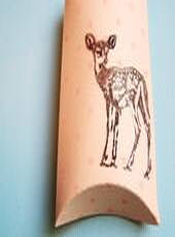 Peach/Peach Dotted/Chocolate Little Deer Pillow Box