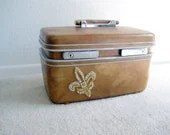 vintage Czech rhinestone beaded Fleur De Lis train case. upcycled, embellished, handpainted