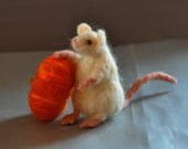 Needle Felted White Mouse with Autumn Pumpkin-Halloween Decoration-Autumn Nature Table-Soft Sculpture-Waldorf Inspired-Made to custom order