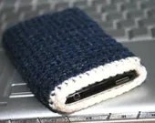 Mens Navy Apple iPhone 4 Case Handmade Crochet BLUE sleeve for cell phone