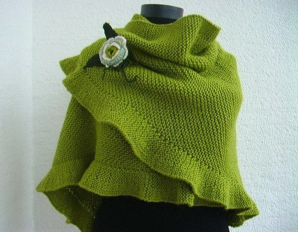 Ruffled Light Green Shawl  Wool Warm with Flower, Bridesmaid Gift