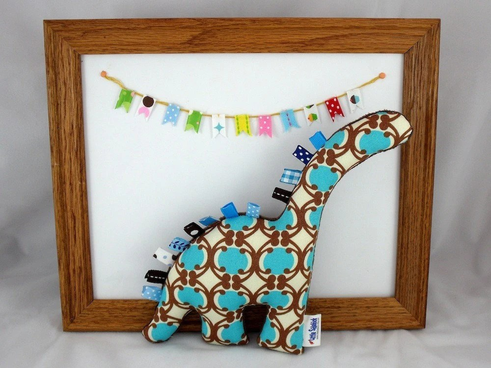 Minky Plush Dinosaur Toy - Blue and Brown
