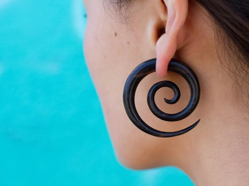 Double Spirals - Wood Fake Guages L/Black