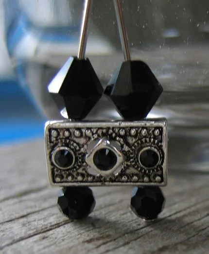 Black Swarovski Crystal Chandelier Earrings