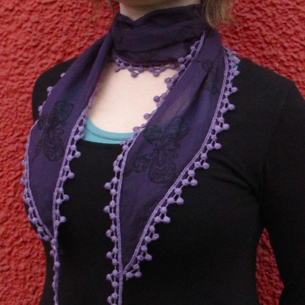 Royal Purple Japanese Butterfly Skinny Scarf