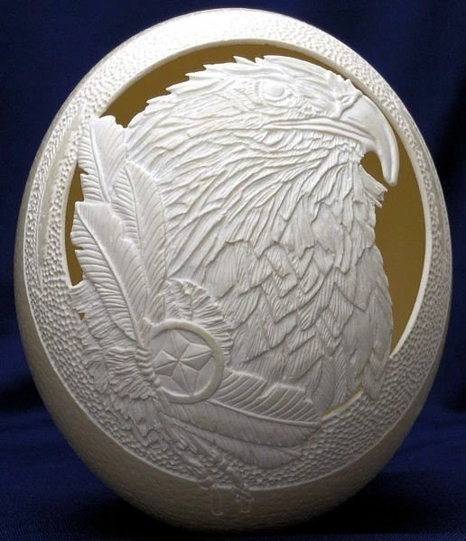 Native Spirit - Carved and Sculpted Ostrich Egg