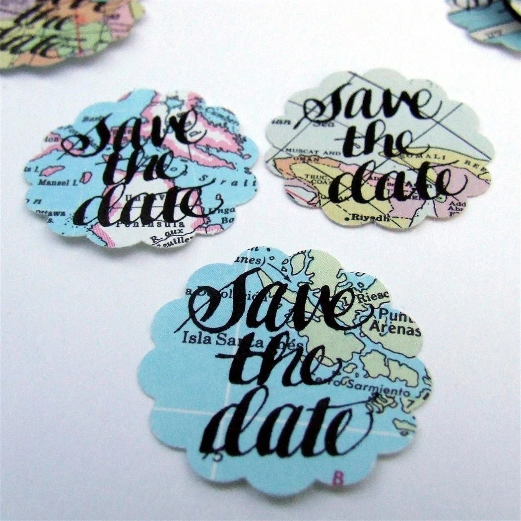 Vintage Atlas Save the Date Stickers Limited Edition package of 50