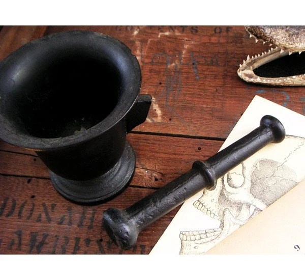 Antique Black Cast Iron Mortar and Pestle