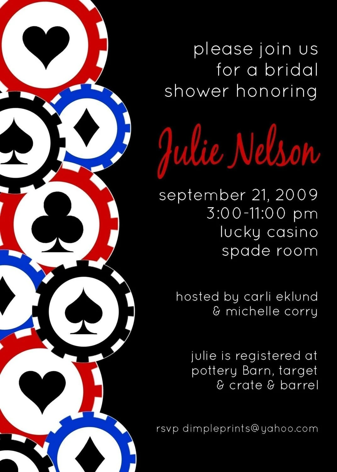 Custom You Print Digital Invitation..Las Vegas..Poker