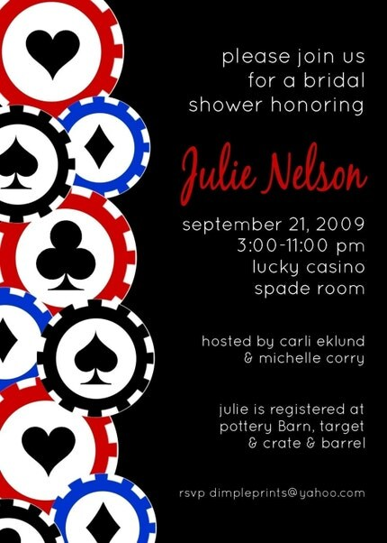 Custom You Print Digital Invitation..Las Vegas..Poker