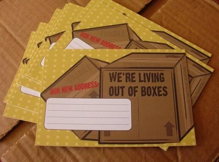 Moving Announcement Postcards (Set of 10)  We're living out of boxes