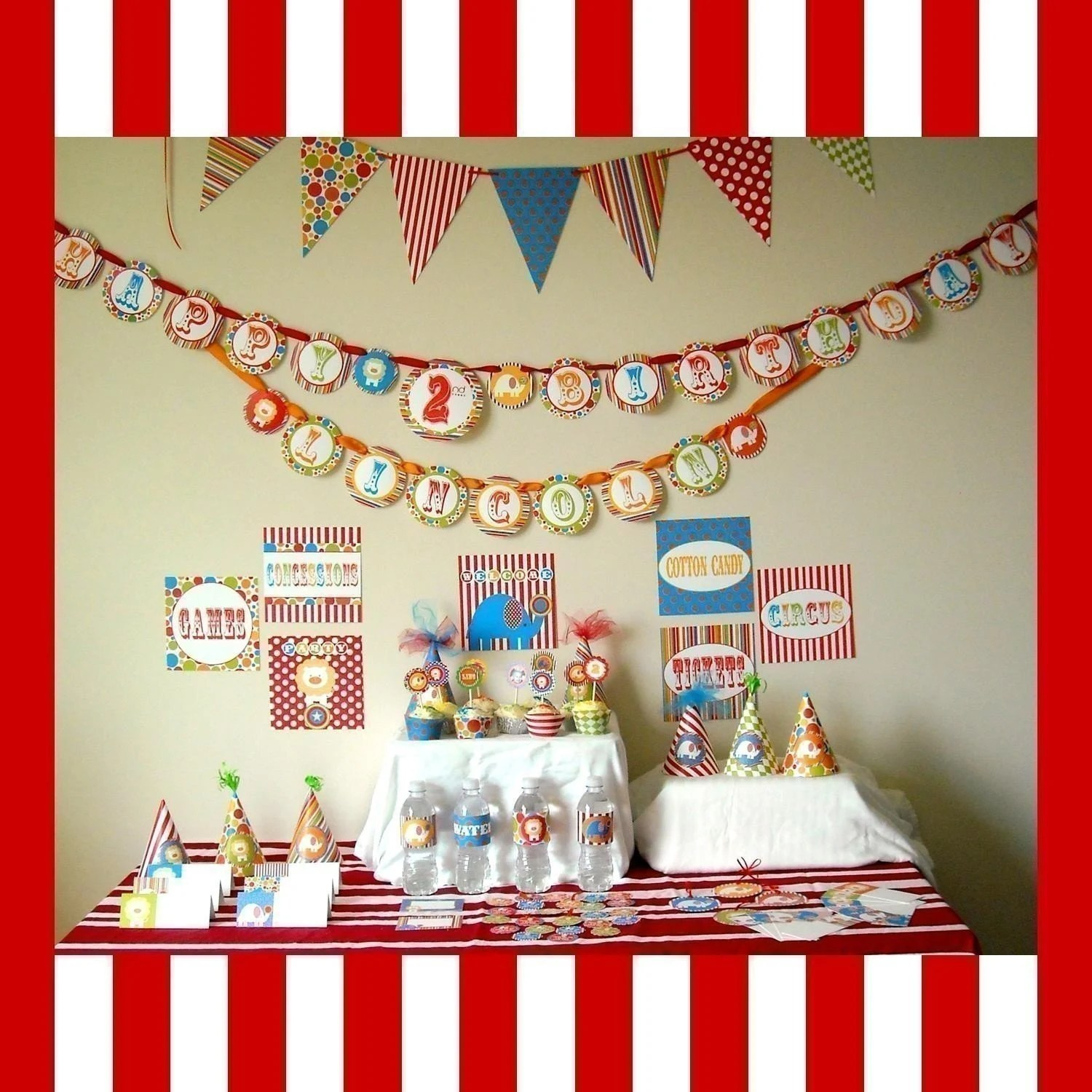 Customized...Printable Party Package...DIY Circus by DimplePrints