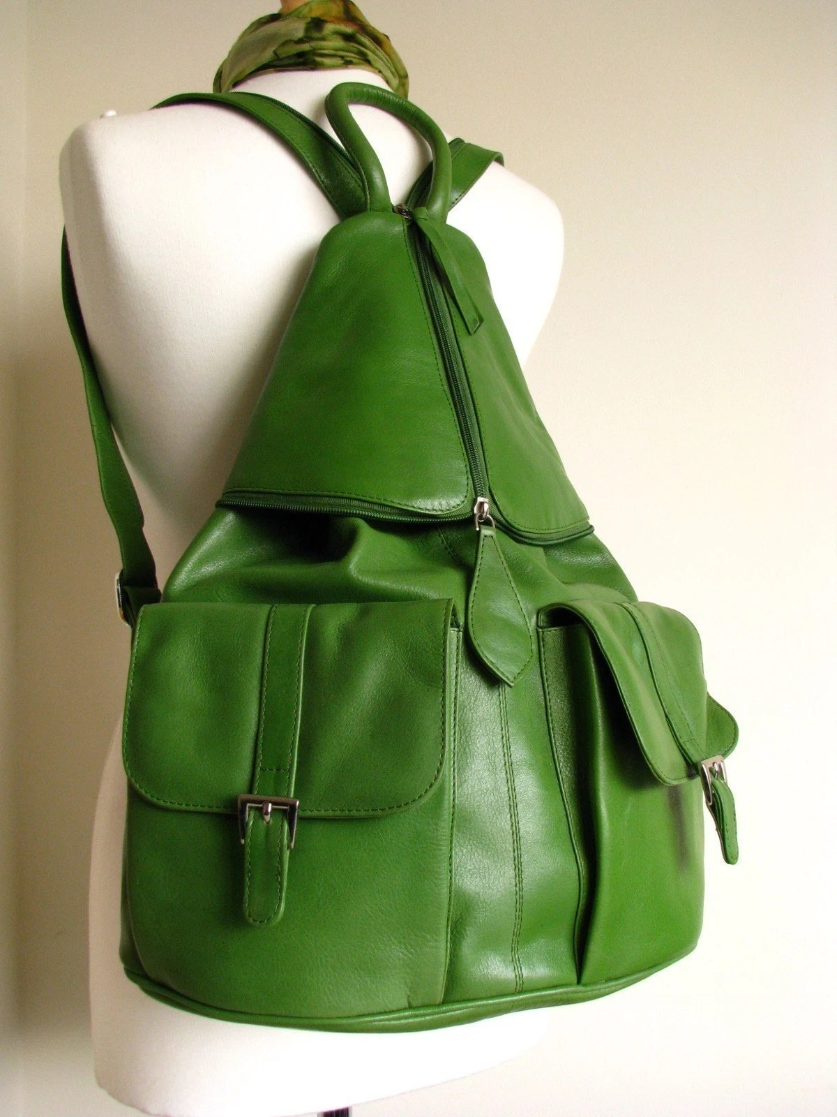Large Kelly Green Leather Backpack by TheLeatherStore