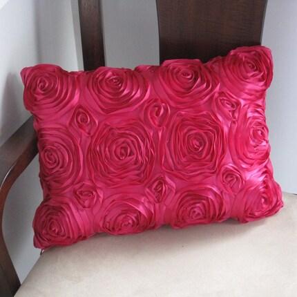 Rosette Rose Satin Throw Pillow Cover - Fuschia