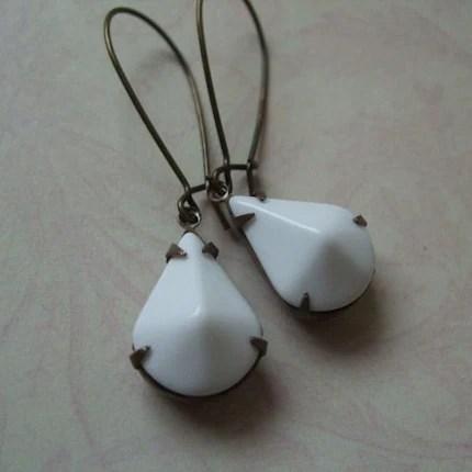 Vintage Estate Earrings White  (Old Hollywood)