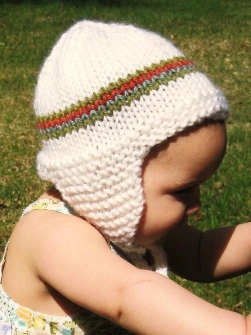 knit boutique toddler earflap hat, 18 months to 4T - coconut with papaya, fern, and aqua stripes