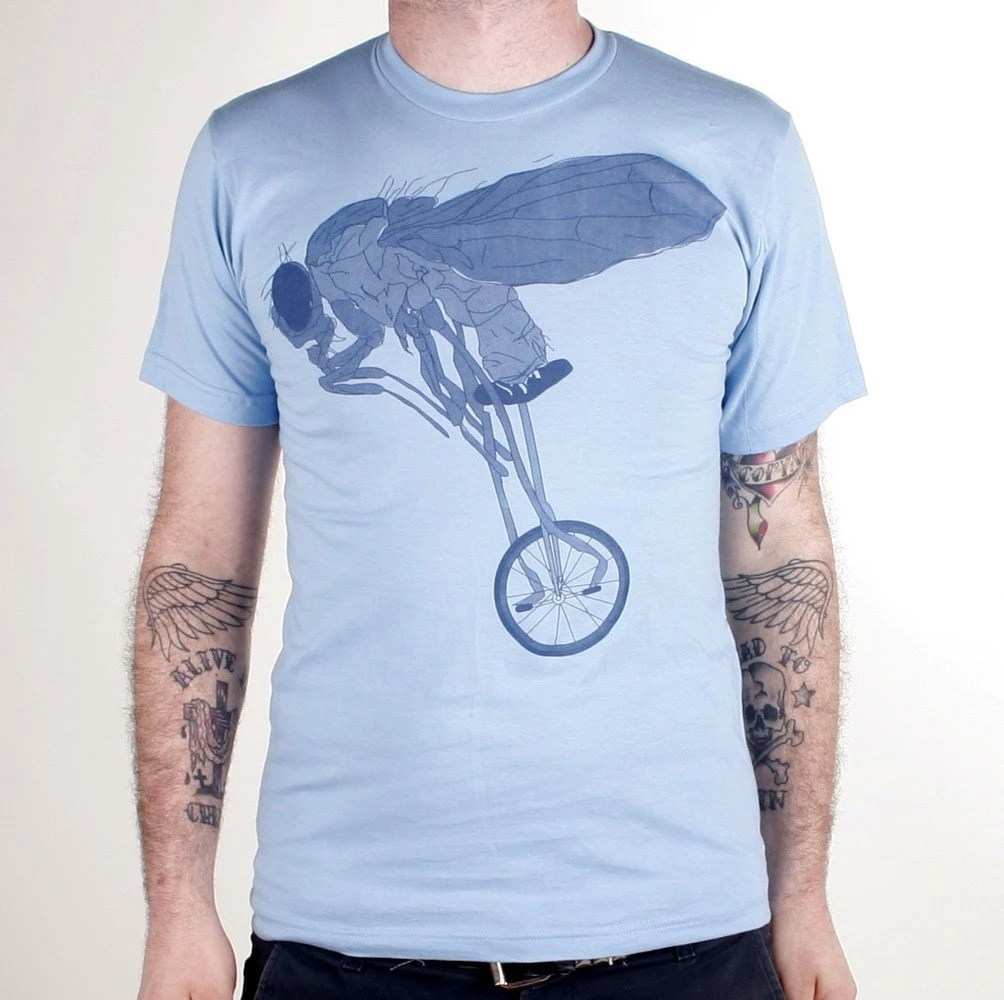 Fly on a Unicycle T-Shirt - American Apparel Light Blue Bike T-Shirt - Available in XS, S, M, L and XL