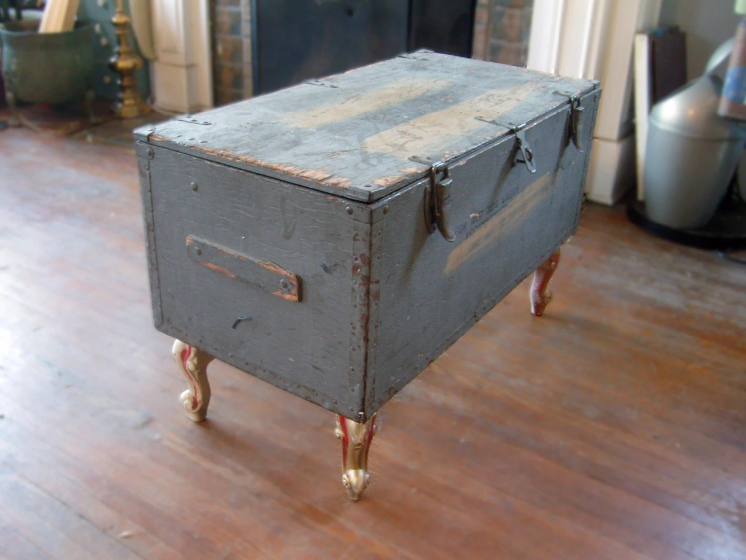 vintage up cycle ww2 wooden army trunk coffee table with legs