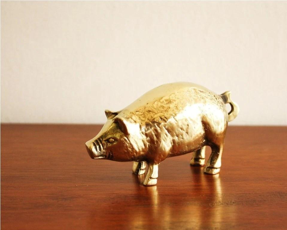Vintage brass furry pig