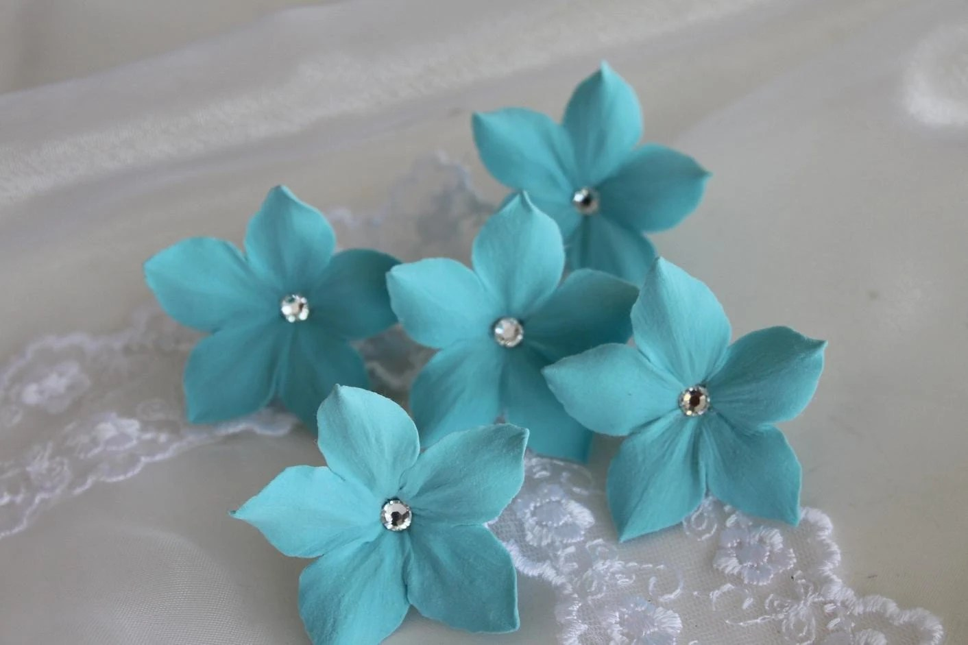 Aqua Blue Flowers Hair Pins with Swarovski Rhinestone  Set of 5