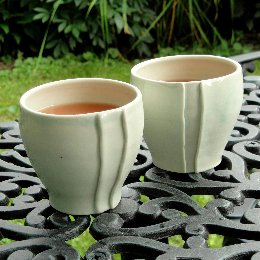 Porcelain Cups in Celadon - set of 2