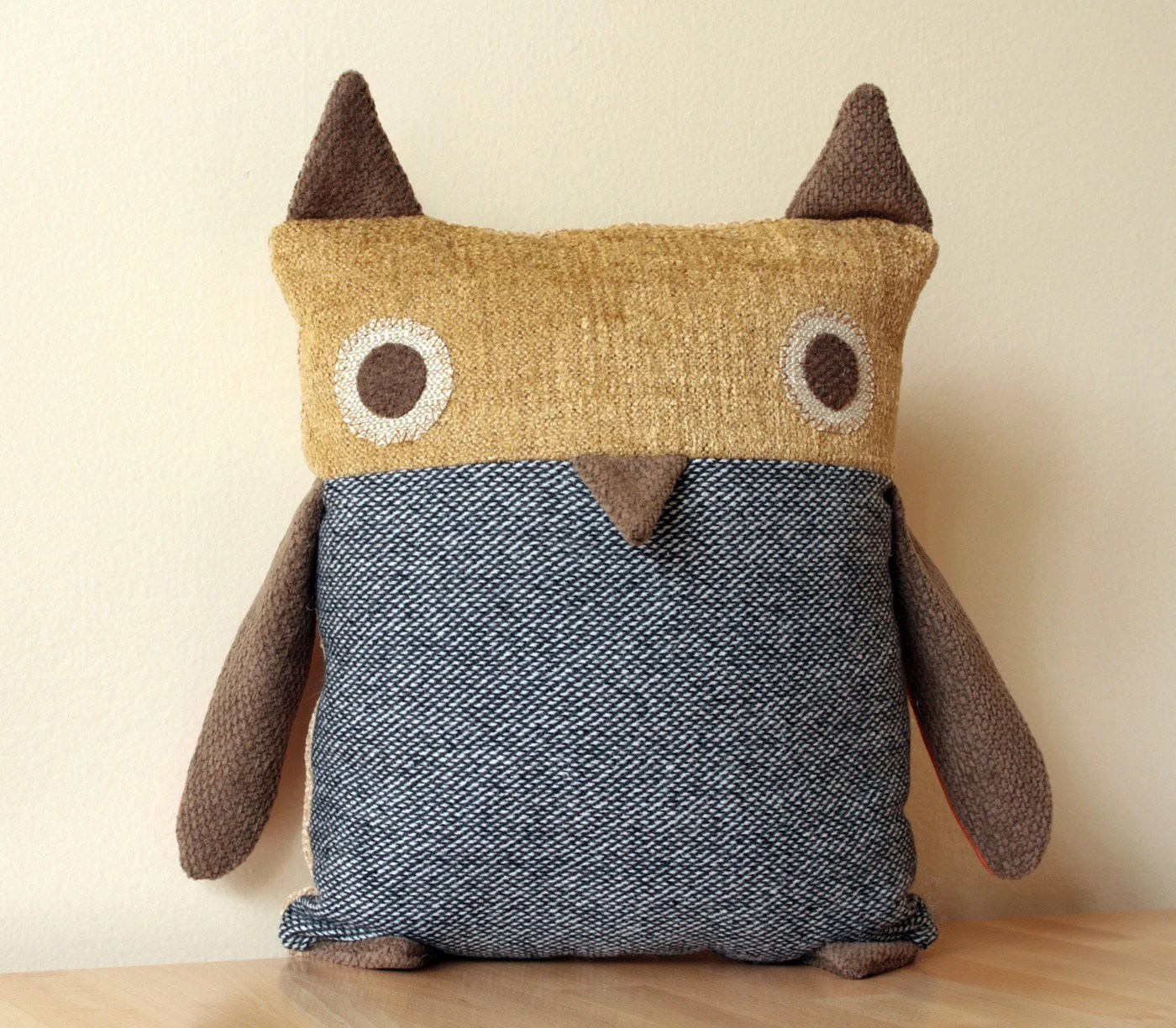 Owl Pillow --- Grey Wool Tweed body, Mustard Yellow face --- Mid Century Modern
