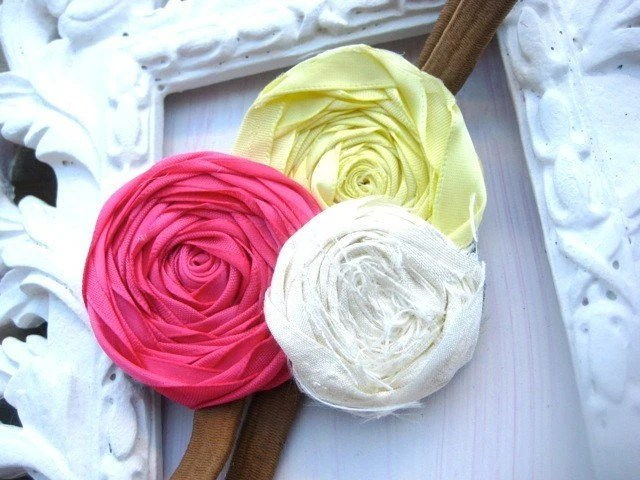 OFF TO THE MARKET ROSETTE FABRIC HEADBAND IN PINK YELLOW AND WHITE