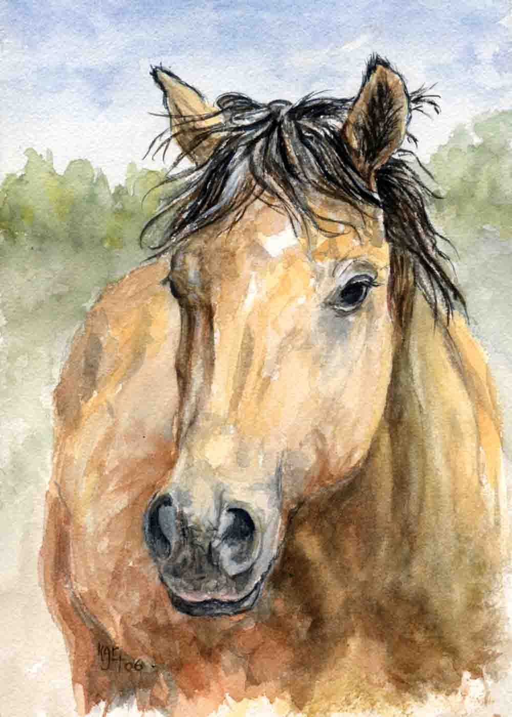 This pretty buckskin mare reminds me of Dale Evans horse - Buttermilk - Sugar is a 5 x 7 inch print of my original watercolor painting