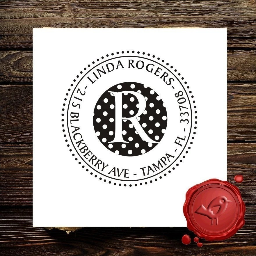 Personalized address custom text rubber stamp HOSTESS GIFT - style 1262B