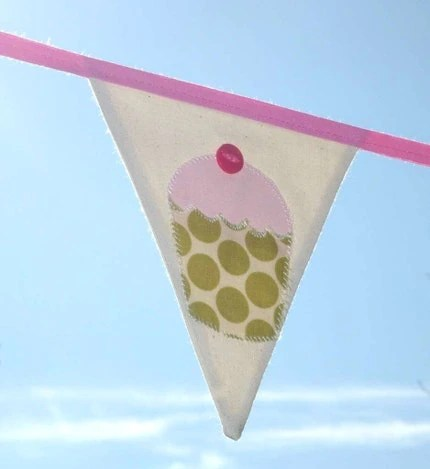 Cupcake mini bunting/banner - Amy Butler pinks and greens