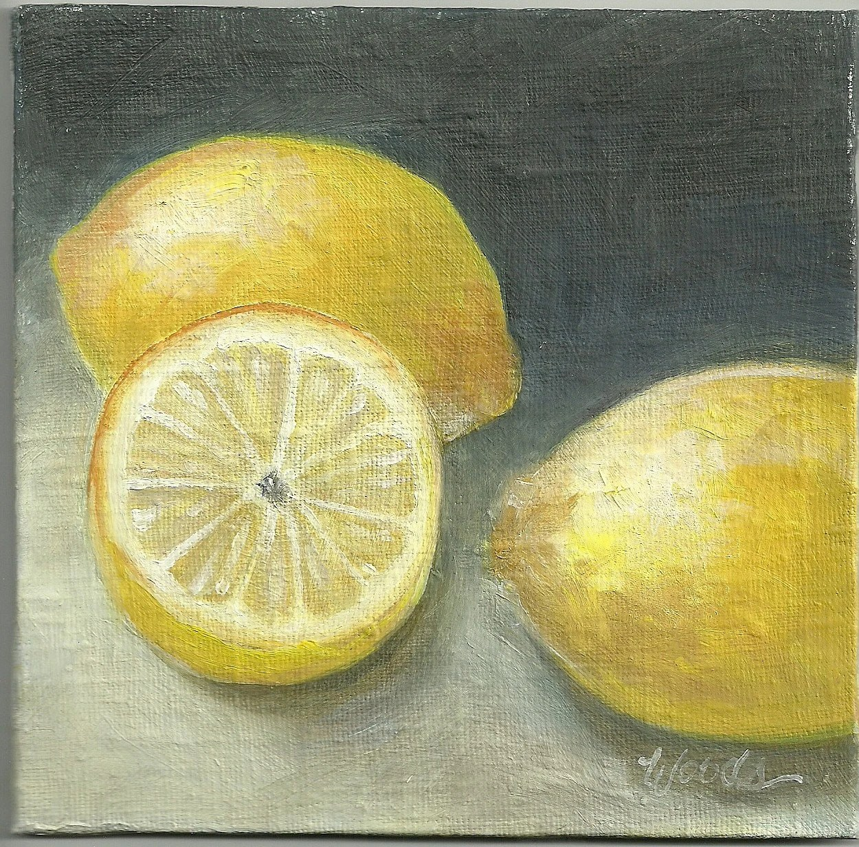 FRESH CUT LEMONS Small Practice Painting by Lindy  6x6