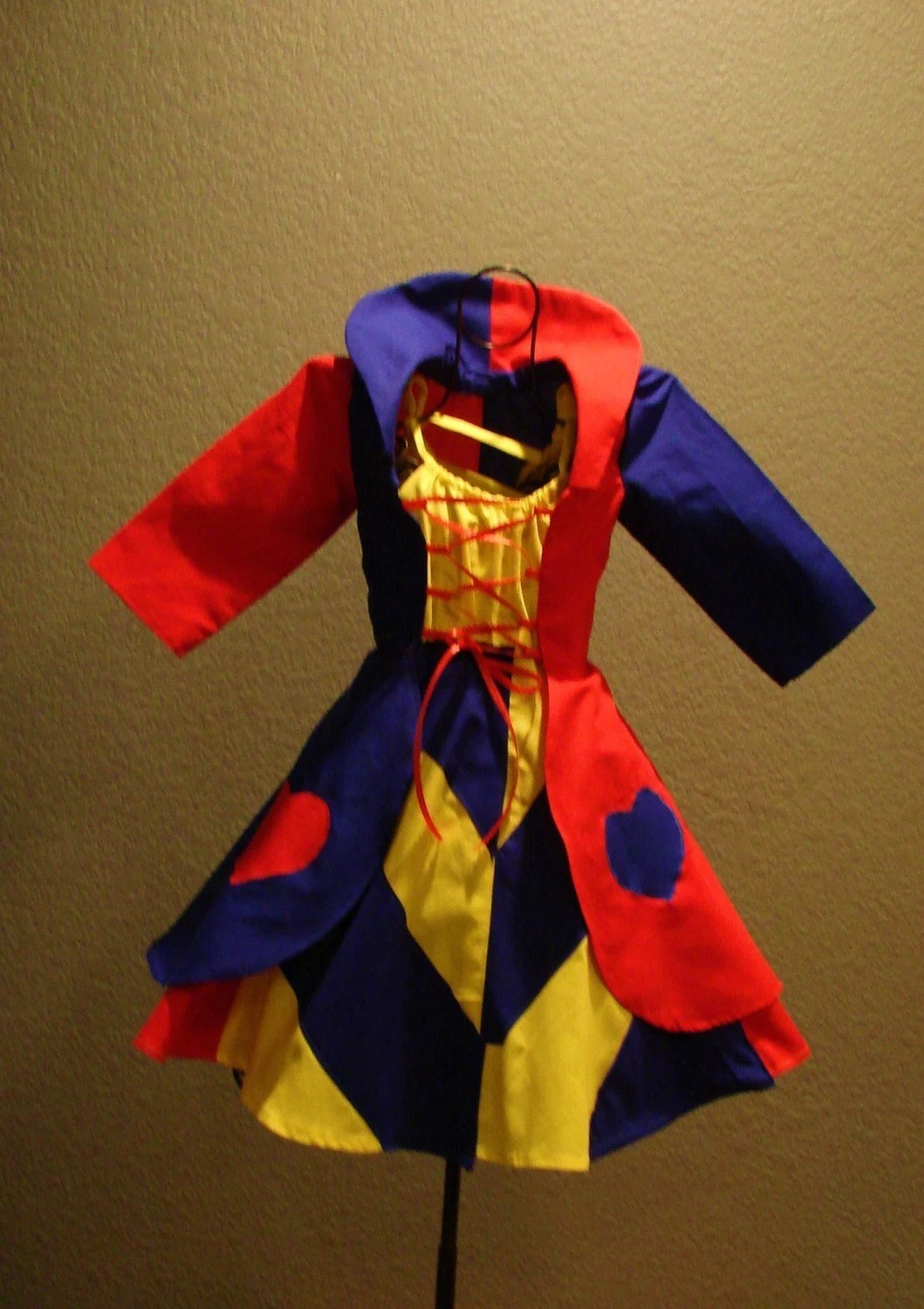 Custom, boutique, handmade UNIQUE  QUEEN OF  HEARTS COSTUME FROM ALICE IN WONDERLAND, in bright  yellow, bright red, cobalt blue with appliqued hearts standup collar SEPERATE DRESS AND JACKET FOR GIRLS