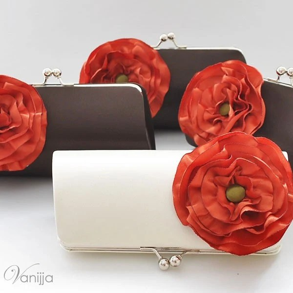 SET Of 4 Bridal and Bridesmaid's Clutch..Customize your own Clutches to match your Wedding Colors..Medium size