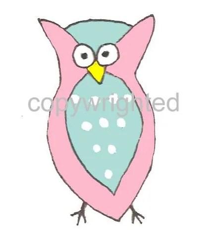 Pink and Aqua Owl ACEO Print from Original Artwork