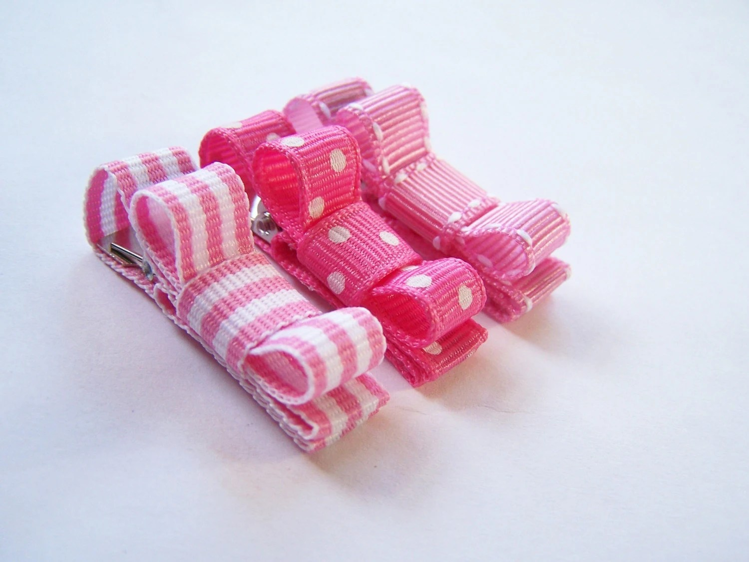 3 Petite Baby Clips No Slip Clippies Boutique Pink for Infant/Newborn Girl