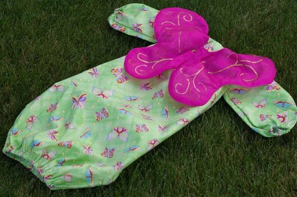 Green and Pink Butterfly Winged Baby Longsleeve Bunting