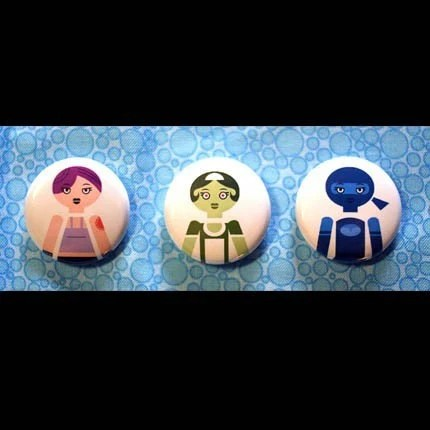 Mysterious Women Set of (3) 1 inch Buttons