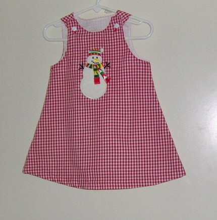 18-24 mo red gingham jumper with snowman applique - 1/2 price clearance