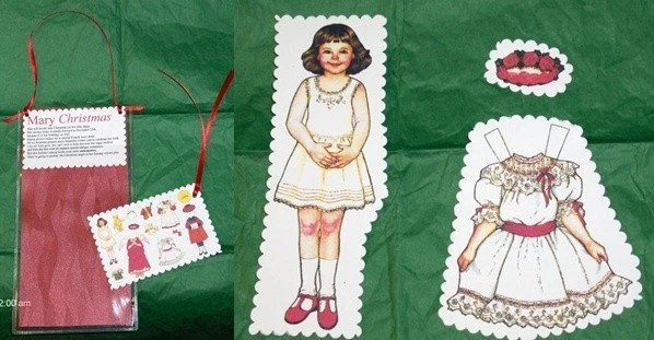 MARY CHRISTMAS CUT OUT PAPER DOLL with WARDROBE and CARRY CASE