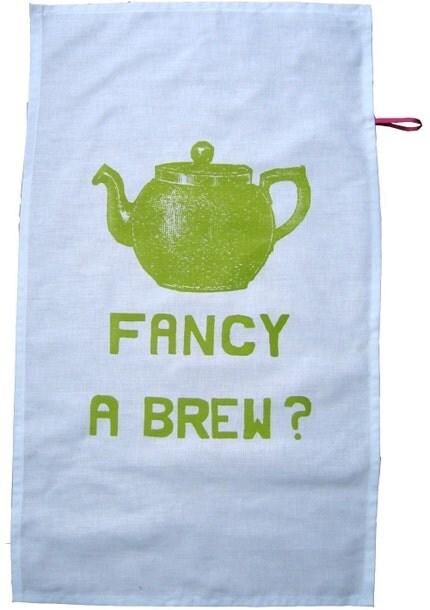 Fancy a Brew tea towel - lime