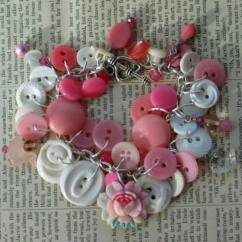 Thinking Pink Altered Button and Bead Charm Bracelet