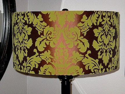 Chocolate and Green Drum Lampshade